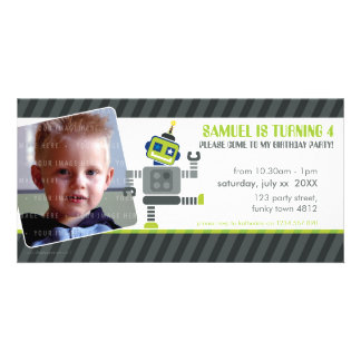 PHOTO BIRTHDAY PARTY INVITE :: robot dancing 1L Photo Card