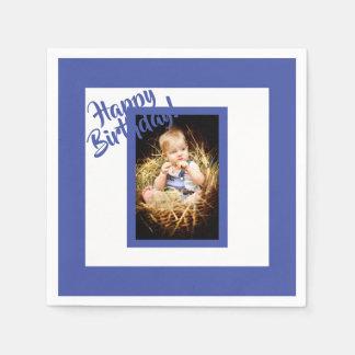 Photo blue birthday napkin for a boy disposable serviettes
