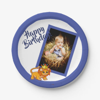 Photo blue birthday paper plate for a boy
