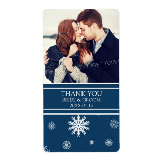 Photo Blue White Snowflakes Winter Wedding Label Shipping Label
