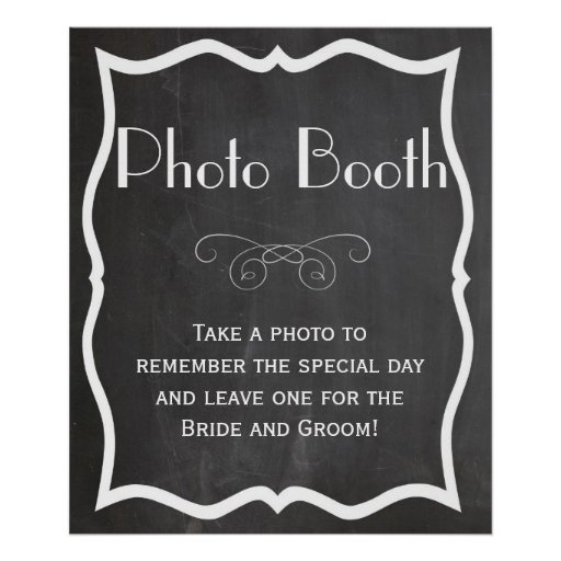 Photo Booth Chalkboard Wedding Sign Poster