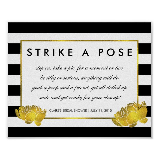 Photo Booth Poster Sign Black Stripe & Gold