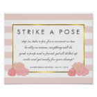 Photo Booth Poster Sign | Navy Stripe & Pink Peony