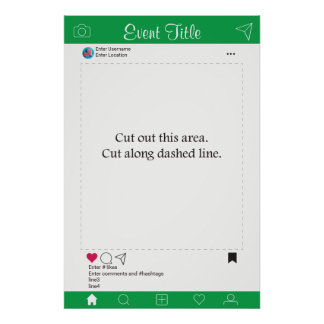 Photo Booth Prop Frame Poster Green and White