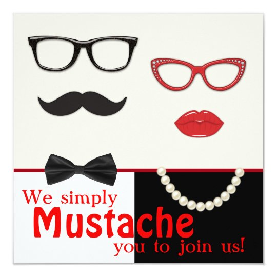 Photo Booth Prop Moustache Birthday Party Card