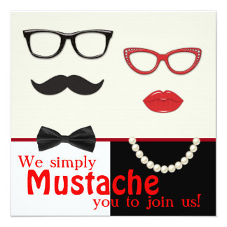 Photo Booth Prop Mustache Birthday Party Card