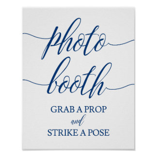 Photo Booth  Wedding Sign Navy Blue Calligraphy