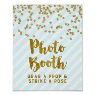 Photo Booth Wedding Sign Sky Blue Gold Stripes Poster
