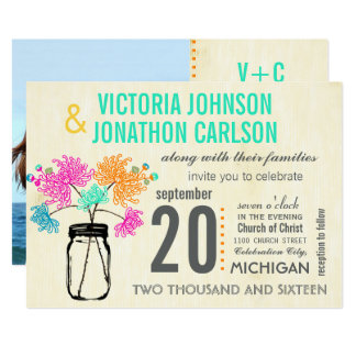 Photo Bouquet in a Mason Jar Wedding Invitations