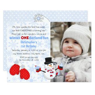 Photo Boy's Winter ONEderland Birthday Party Card