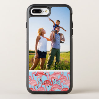 Photo Bright Pink Flamingos On Blue OtterBox Symmetry iPhone 8 Plus/7 Plus Case