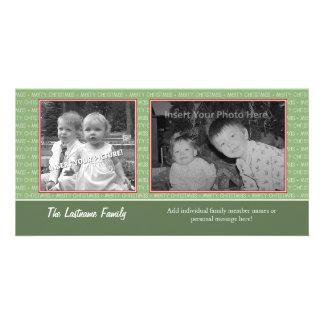 Photo Card: Green/Red w/2 photos - horizontal