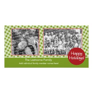 Photo Card: Happy Holidays - 2 photos - horizontal Customised Photo Card