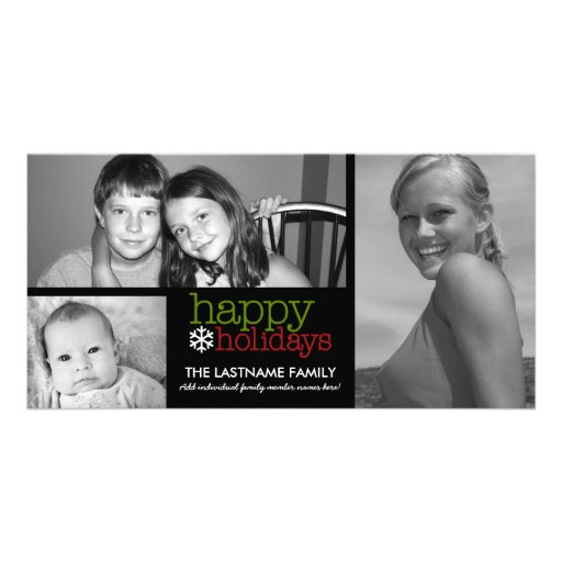 Photo Card: Happy Holidays with 3 photo collage