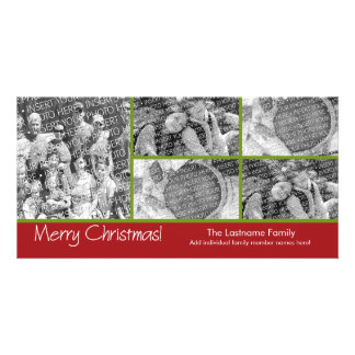 Photo Card: Merry Christmas with 5 photo collage Customised Photo Card