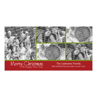 Photo Card: Merry Christmas with 5 photo collage Customized Photo Card