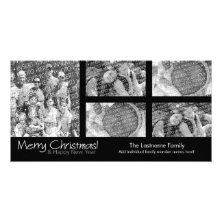 Photo Card: Merry Christmas with 5 photo collage Personalised Photo Card