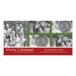 Photo Card: Merry Christmas with 5 photo collage Personalized Photo Card