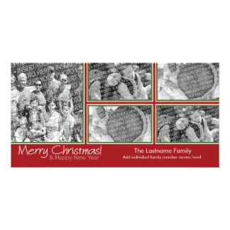 Photo Card: Merry Christmas with 5 photo collage Photo Card Template