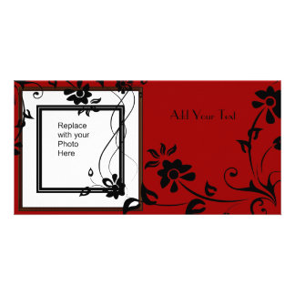 Photo Card Red Black Floral