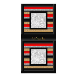 Photo Card Stripe Red Black Gold Grey