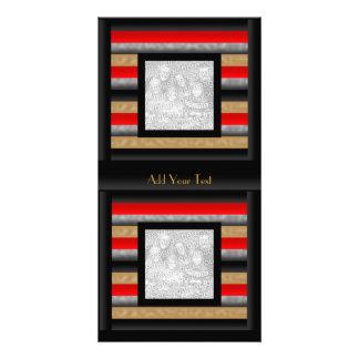 Photo Card Stripe Red Black Gold Grey