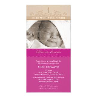 PHOTO CHRISTENING INVITATIONS :: elegant 5 Photo Greeting Card