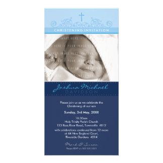 PHOTO CHRISTENING INVITATIONS :: elegant 6 Photo Greeting Card