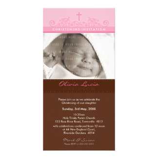 PHOTO CHRISTENING INVITATIONS :: elegant 7 Personalised Photo Card