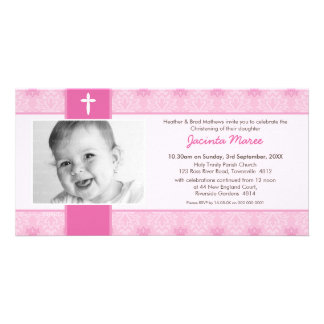 PHOTO CHRISTENING INVITATIONS :: pretty 2L Personalised Photo Card