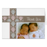 Photo Christening Thank You Card  |  Twins