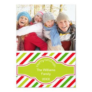 Photo Christmas Card Diagonal Stripe 13 Cm X 18 Cm Invitation Card
