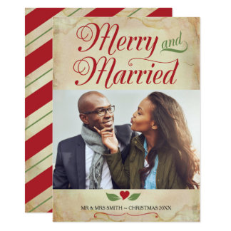 Photo Christmas Card, Merry and Married Card
