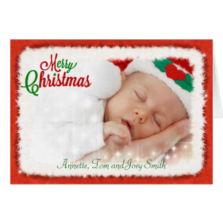 Photo Christmas Card with Santa Claus Frame