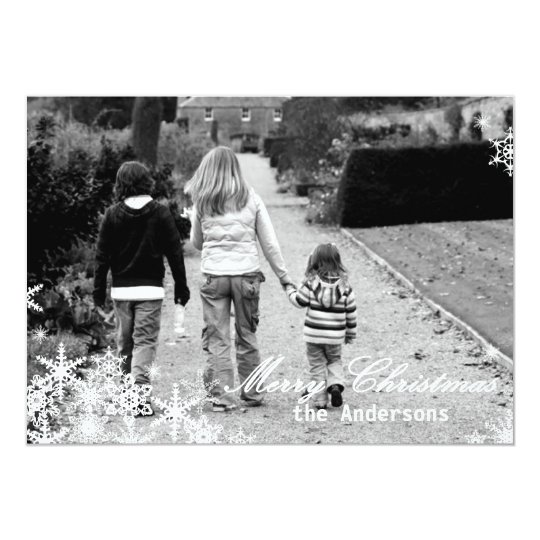 Photo Christmas Card with Snowflakes