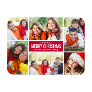Photo Christmas Collage | Custom Color Rectangular Photo Magnet