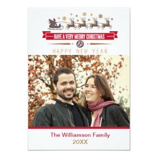 Photo Christmas & Happy New Year Card 13 Cm X 18 Cm Invitation Card