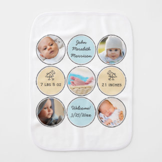 Photo Collage Baby Boy Name, birth stats and duck Baby Burp Cloth