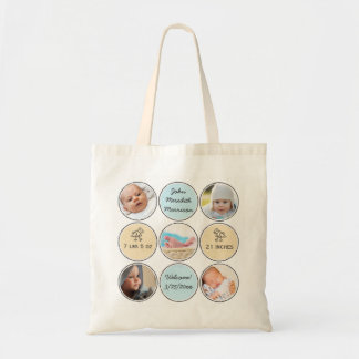 Photo Collage Baby Boy Name, birth stats and duck Budget Tote Bag