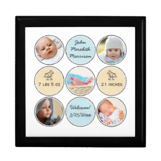 Photo Collage Baby Boy Name, birth stats and duck Large Square Gift Box