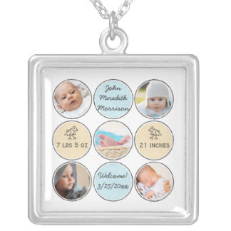 Photo Collage Baby Boy Name, birth stats and duck Silver Plated Necklace