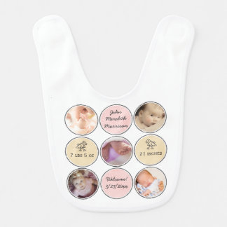 Photo Collage Baby Girl Name, birth stats and duck Baby Bibs