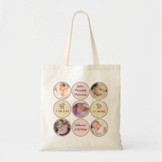 Photo Collage Baby Girl Name, birth stats and duck Budget Tote Bag