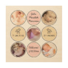 Photo Collage Baby Girl Name, birth stats and duck Wood Print