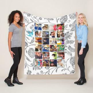 Photo Collage Blue Gray Floral Family Photos Fleece Blanket