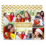 Photo Collage Christmas Card   Gold Chevron 13 Cm X 18 Cm Invitation Card
