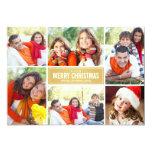 Photo Collage Christmas Card | Gold Chevron 13 Cm X 18 Cm Invitation Card