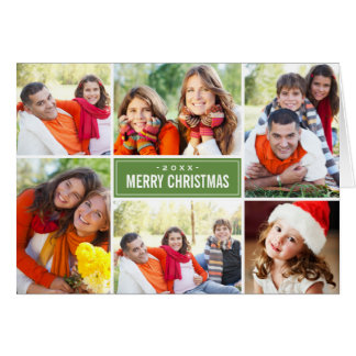 Photo Collage Christmas Greeting Folded | Green Cards