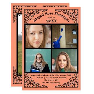 Photo Collage Coral Lace - 3x5 Grad Announcement