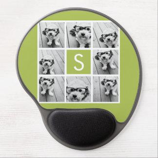 Photo Collage Custom Monogram - Lime Green Gel Mouse Mat